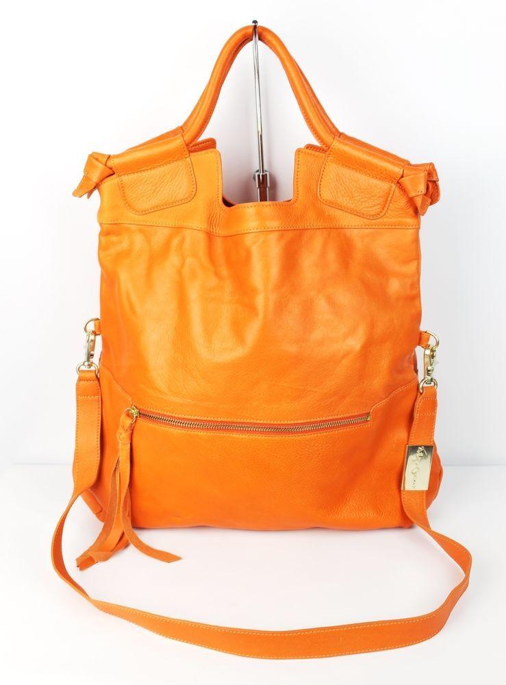 Foley + Corinna Orange Cowhide Leather Mid City Tote Bag $395 Retail #FoleyCorinna #TotesShoppers