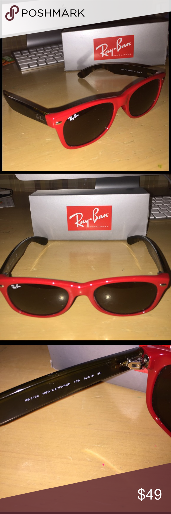Ray ban sunglasses for couple - Ray Ban Wayfarer Rb 2132 Red Brown 52mm Owned These Ray Ban Sunglasses For A