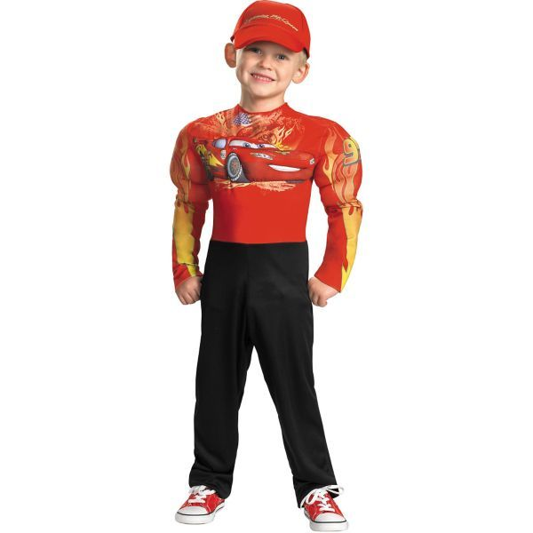 Toddler Boys Lightning McQueen Muscle Costume - Cars 2 Halloween - halloween decorated cars