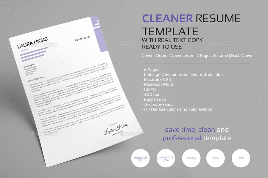 Cleaner resume cv template ad resume ad cleaner