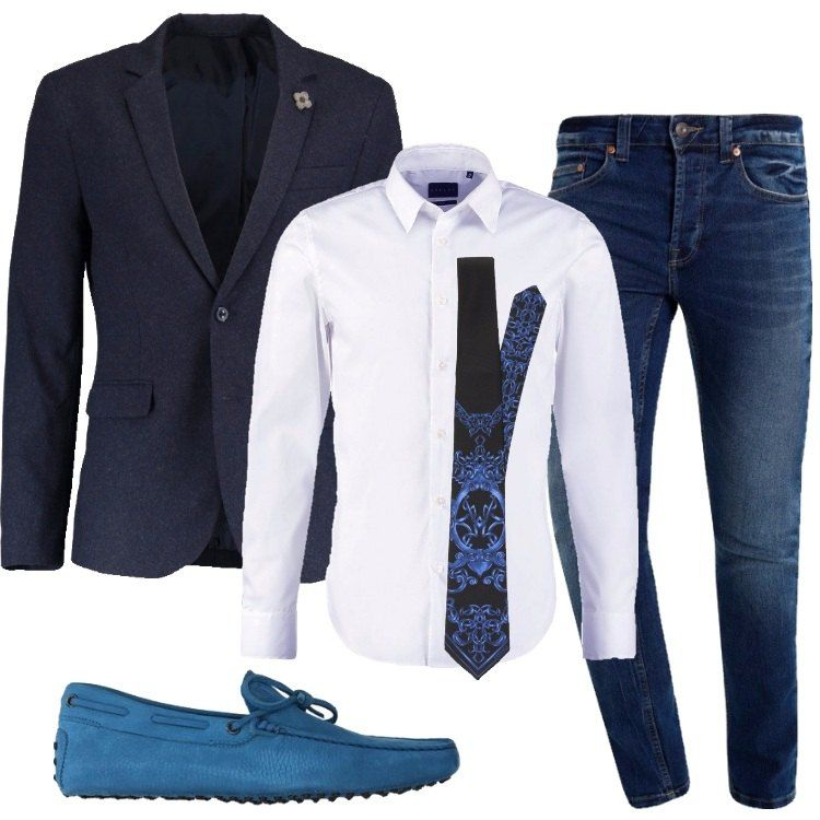 Un outfit elegante e giovane, reso meno formale dal jeans in