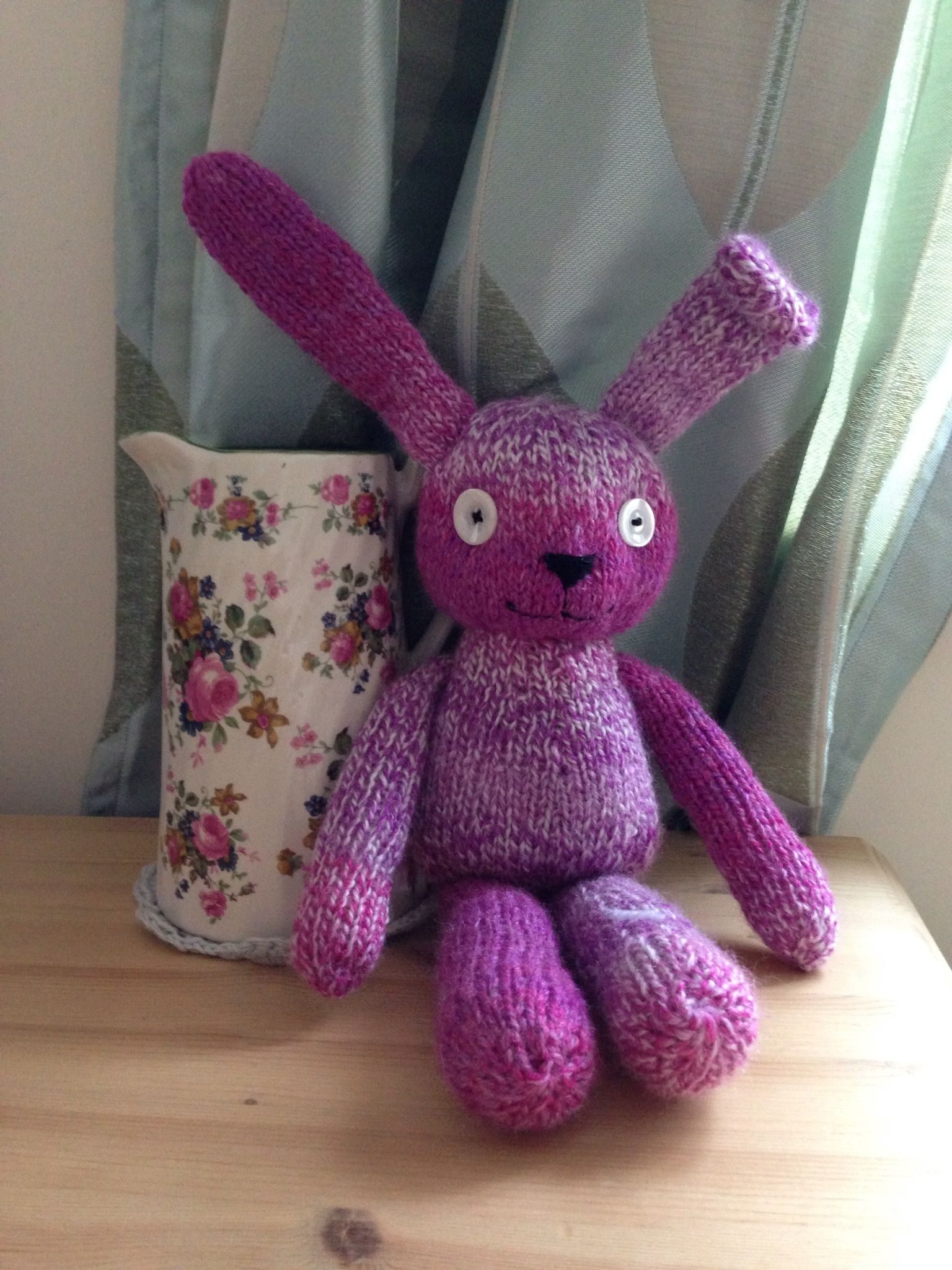 Knitted rabbit. Designed and made by Mama T. Www.facebook.com/MamaTsCraftyCreations