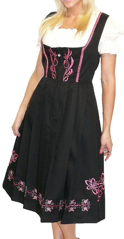 Amazon.com: Dirndl Trachten Haus 3-Piece Long German Wear Party Oktoberfest Waitress Dress: Clothing
