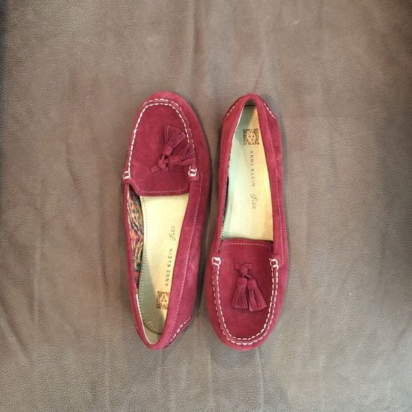Anne Klein red suede loafers Great condition, never worn Anne Klein Shoes Flats & Loafers