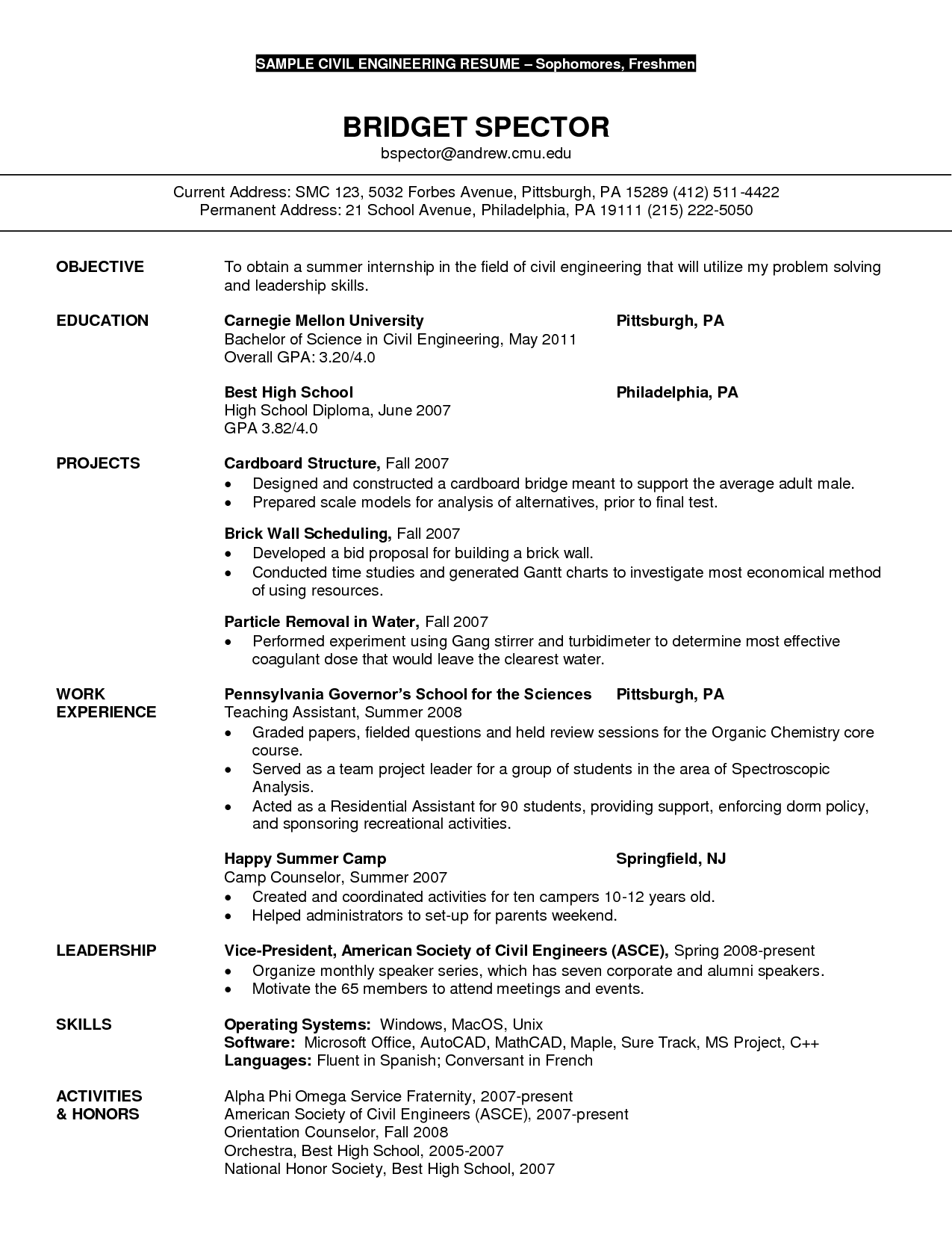 Resume Objective For Civil Engineering Student Civil Engineer Resume Sample Http Resumecareer