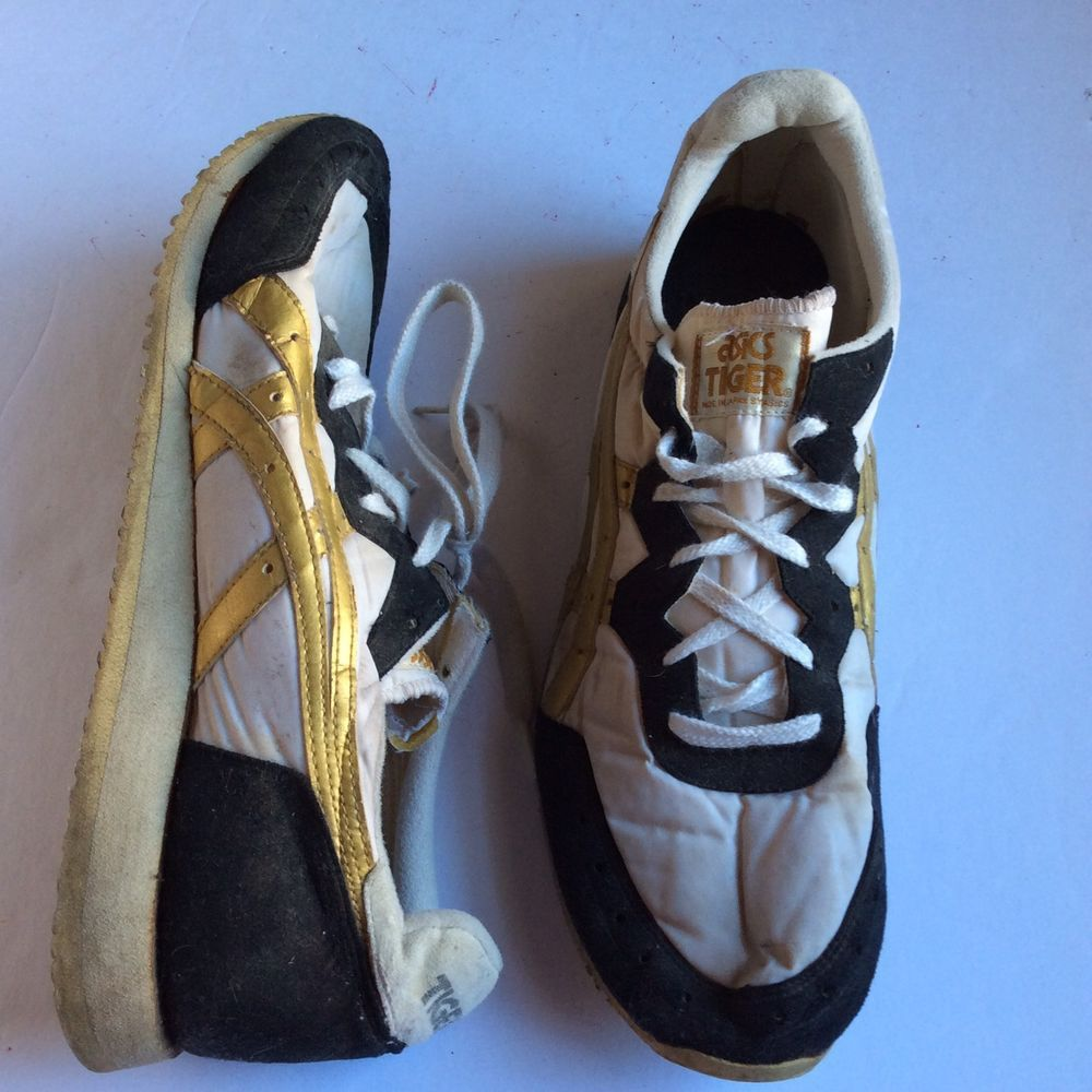 new arrival ebd11 536fa Rare Vintage Asics Tiger Shoes Made In Japan Gold White Black Mens 10.5  81878 ASICS AthleticSneakers