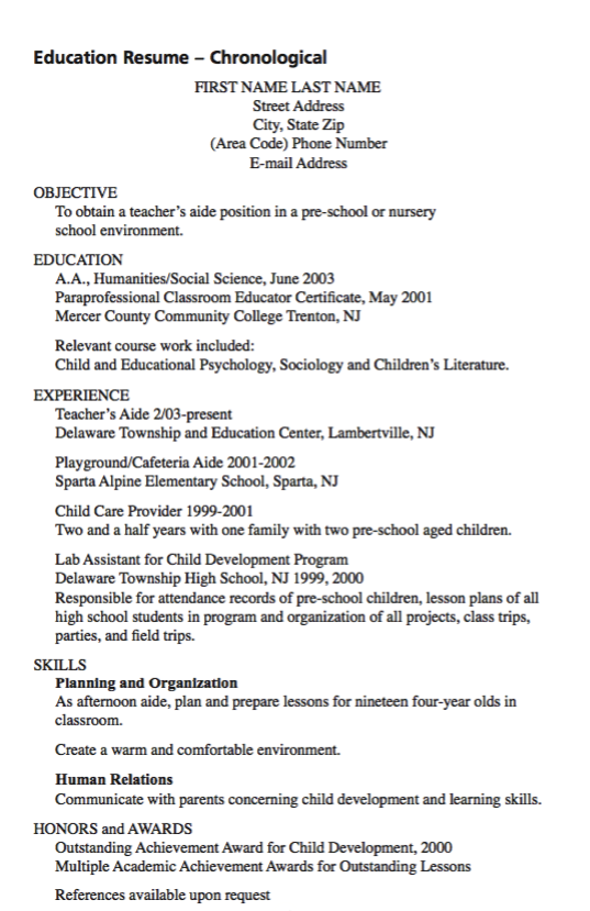 example of teacher aide resume