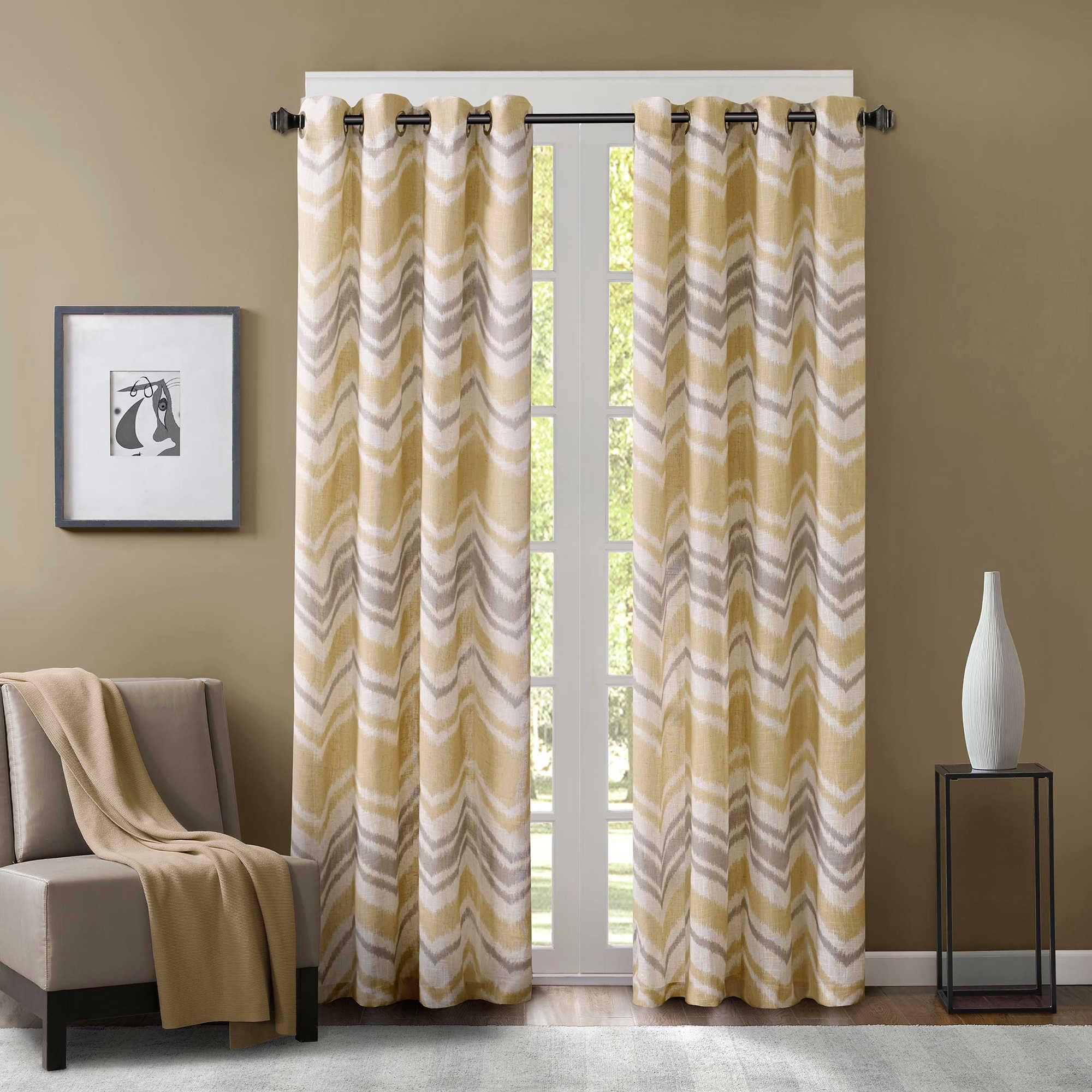 Yellow And Grey Patterned Curtains   Eton Window Curtain Panels