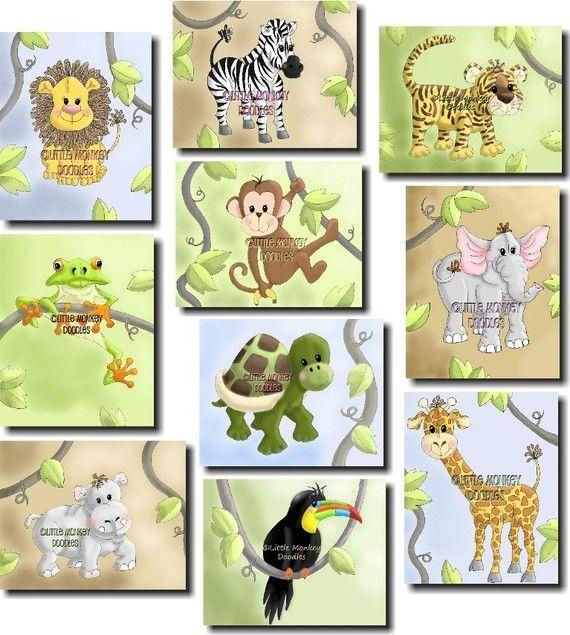 Set of 10 Jungle Animal Bedroom Nursery 8 x 10 Wall Art Prints ...
