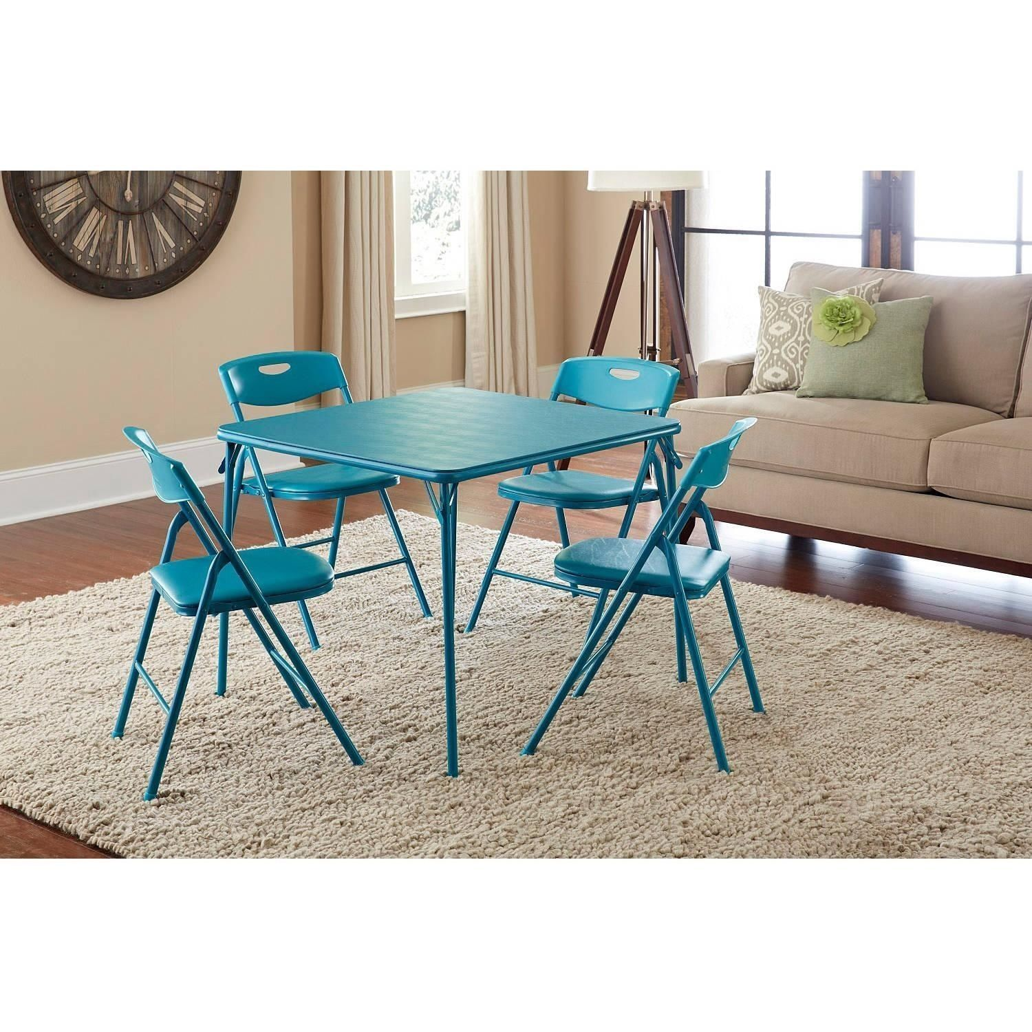 Folding dining table and chair set  Folding Table Chair Set pc Activity Card Game Dining Living Room