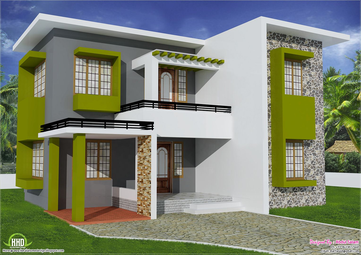 Sq feet flat roof home design house design plans roof for Kerala home design flat roof elevation