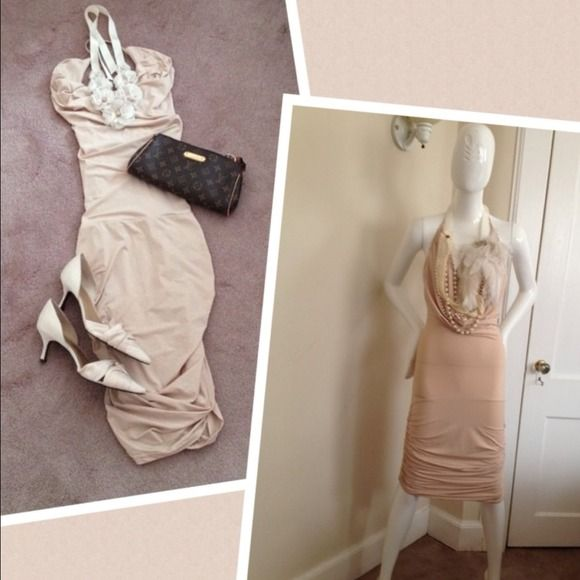 NWOT Nude Deep V Neck Dress This is a Gorgeous halter dress in nude pinkish color. Deep V neck on the chest area and low cut on the back side. This dress is really sexy yet elegant since it shows your figure perfectly. It's just perfect for your occasions  Dresses