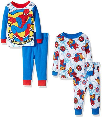 99bb3ee85 Marvel Boys Spiderman 4Piece Cotton Pajama Set Blue 18 Months    See ...