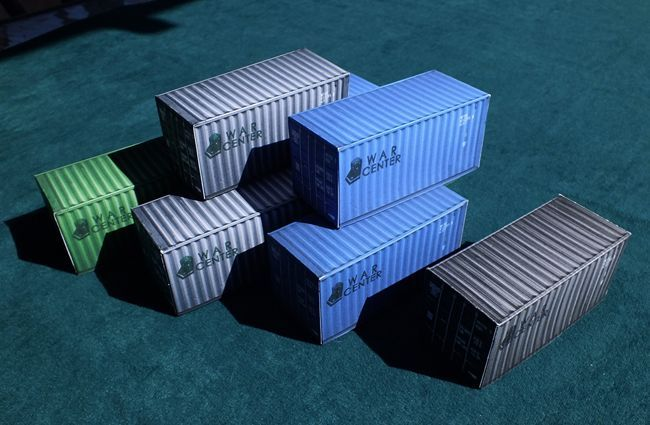 Container Paper Models for Diorama Free Templates Download