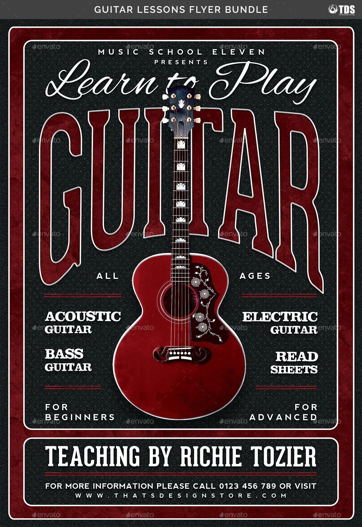 Guitar Lessons Flyer Bundle Guitar lessons, Flyer