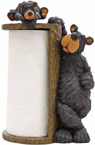 Pin By Chelsie Scott On Black Bear Themed Kitchen Paper Towel Holder Bear Decor Black Bear Decor