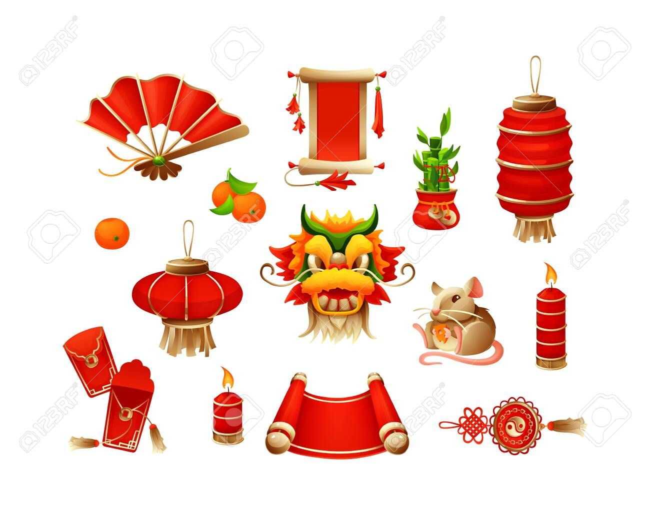 Elements for Chinese traditional Happy New Year with ...