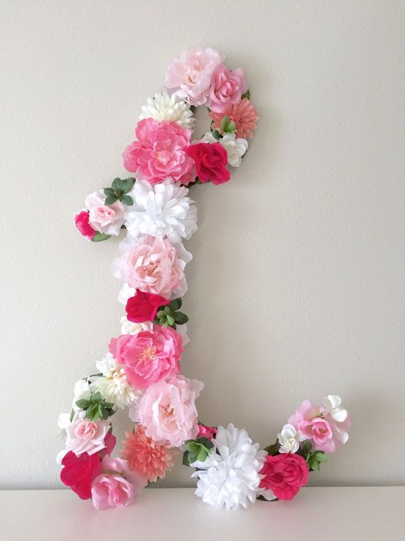 Rose Flower Design Baby Nursery Kids Bedroom Wooden: Floral Letters From BegoniaRoseCo On Etsy, Handmade