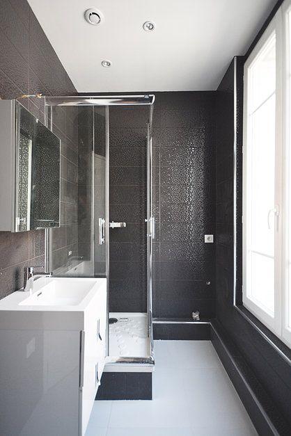 carrelage gris anthracite brillant   Deco, Bathtub