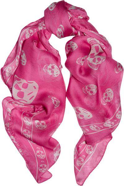 Printed Silk-chiffon Scarf - Pink Alexander McQueen 8hmWHFK0t