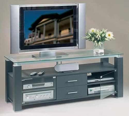 The Elite EL 956 6575u0027u0027 Grey Credenza TV Stand And Audio Rack Combination  Unit Features Safety Tempered Glass ...