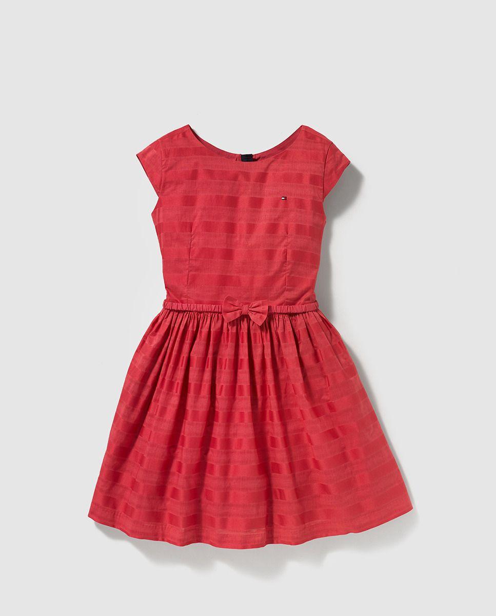 54404e0f7d Vestido de niña Tommy Hilfiger rojo con cinturón