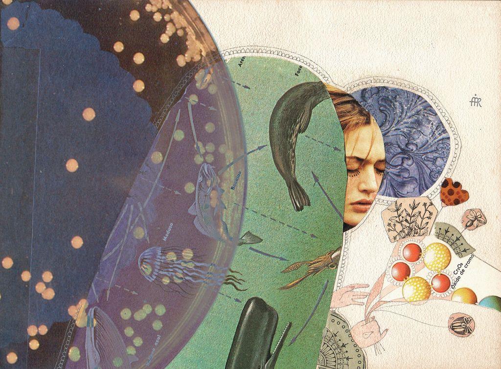 Collage, acuarela, retoque digital. 2007.  ...y que la tristeza se quede a un costado, agazapada, asustada, pero no del todo arrinconada, no vaya a ser que en su felina astucia, nos devore...