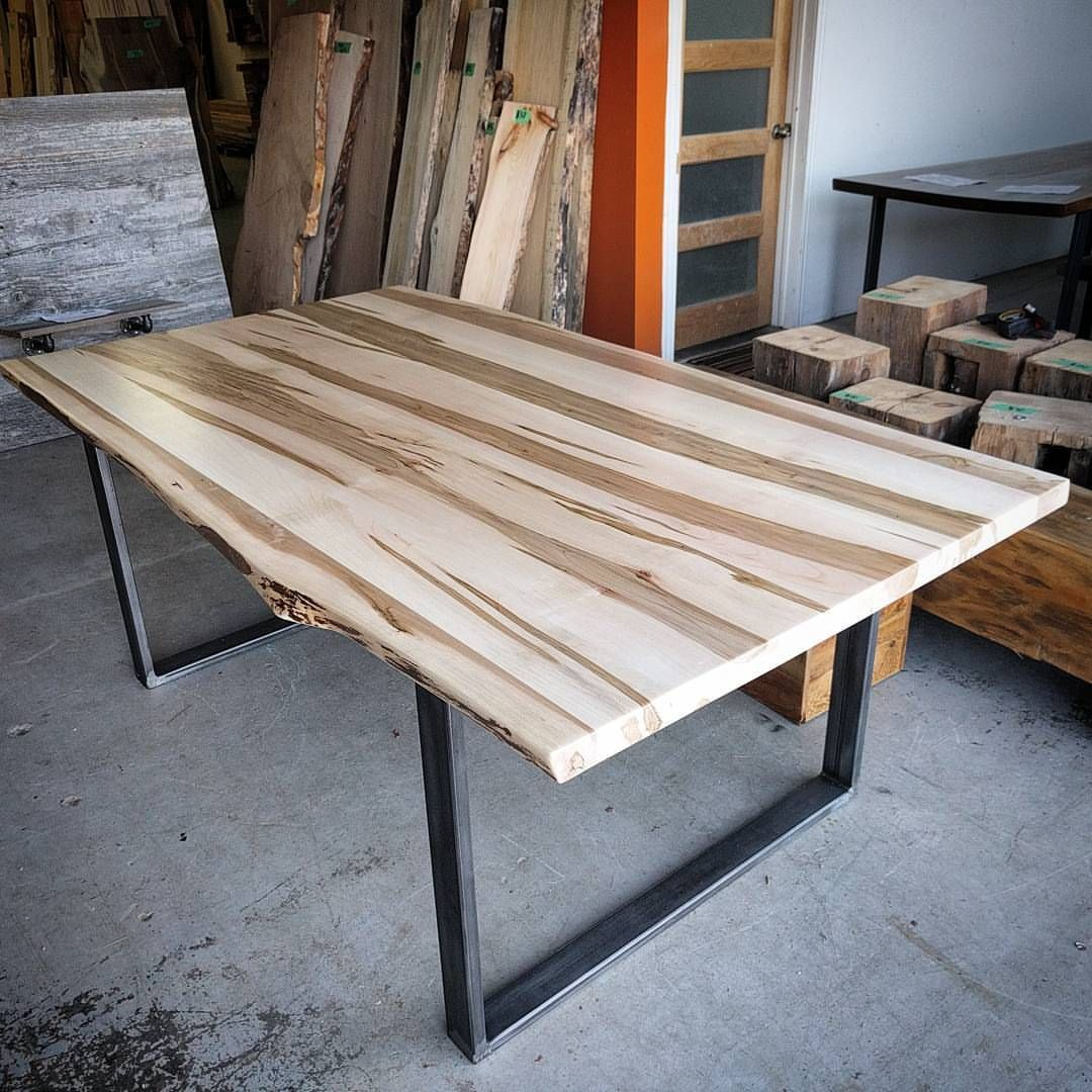 Ambrosia Maple Dining Table By Barnboardstore   This Is A Clear Coated Top  On Industrial Look Steel U Legs.