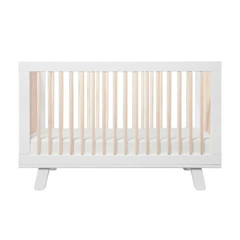 Babyletto Hudson 3 in 1 Cot - White and Washed Natural   Baby ...