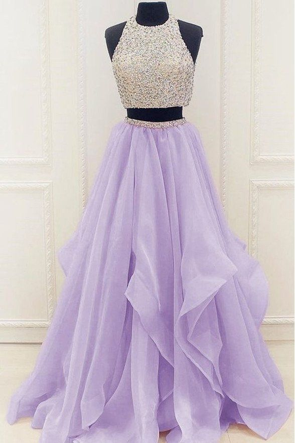 2 Piece Hi Lo Tiered Skirt Beads Lilac Prom Gowns Quinceanera