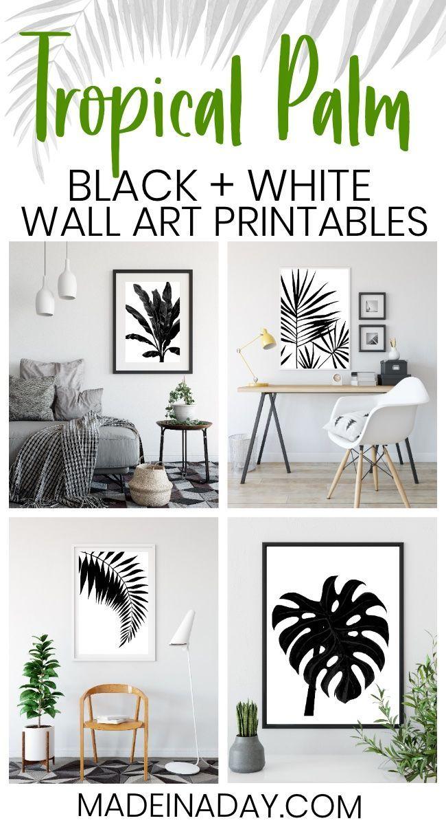 Black White Tropical Palm Leaf Wall Art Printables Monstera