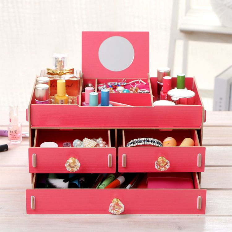 New Makeup Cosmetics Jewelry Organizer DIY Wooden Drawer Grid