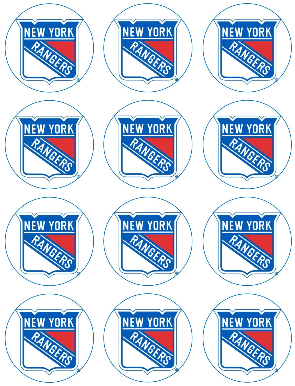 Nhl Cupcake Toppers New York Rangers Edible Icing Images Edible Images