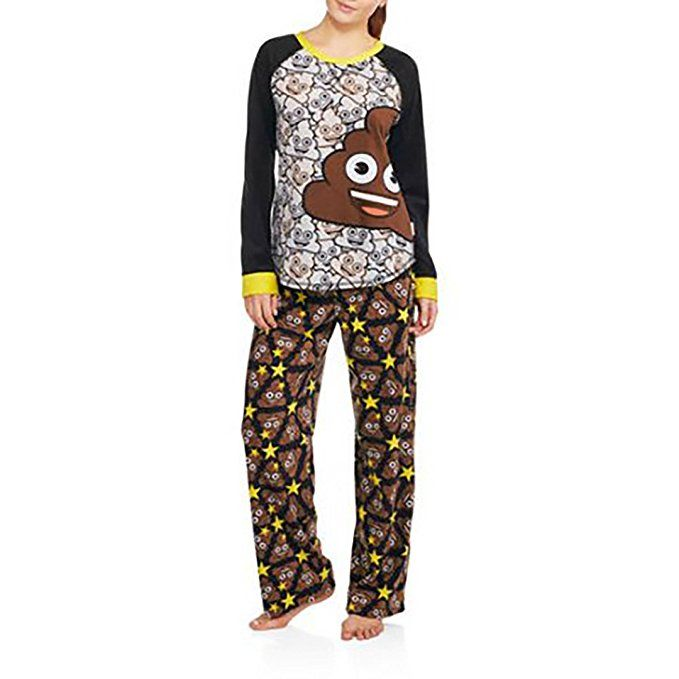 dd8fd4a3886f Womens Licensed Long Sleeve Poop Emoji Microfleece Ugly Christmas Sweater Pajama  Set 2 pc.