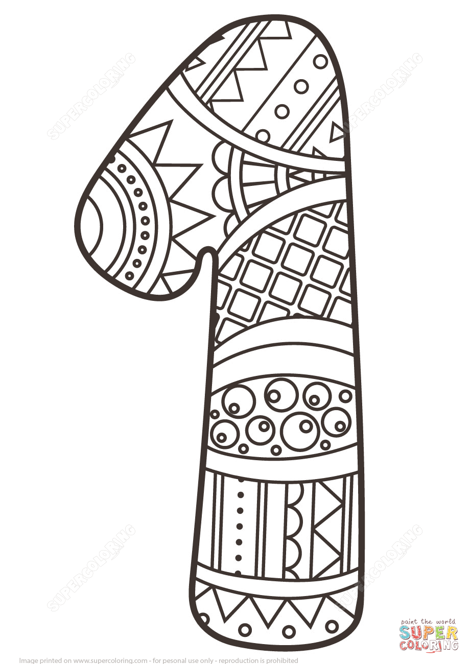 Number 1 Zentangle Coloring Page From Zentangle Numbers Category Select From 27007 Printable Crafts Of Car Animal Coloring Pages Coloring Pages Coloring Books