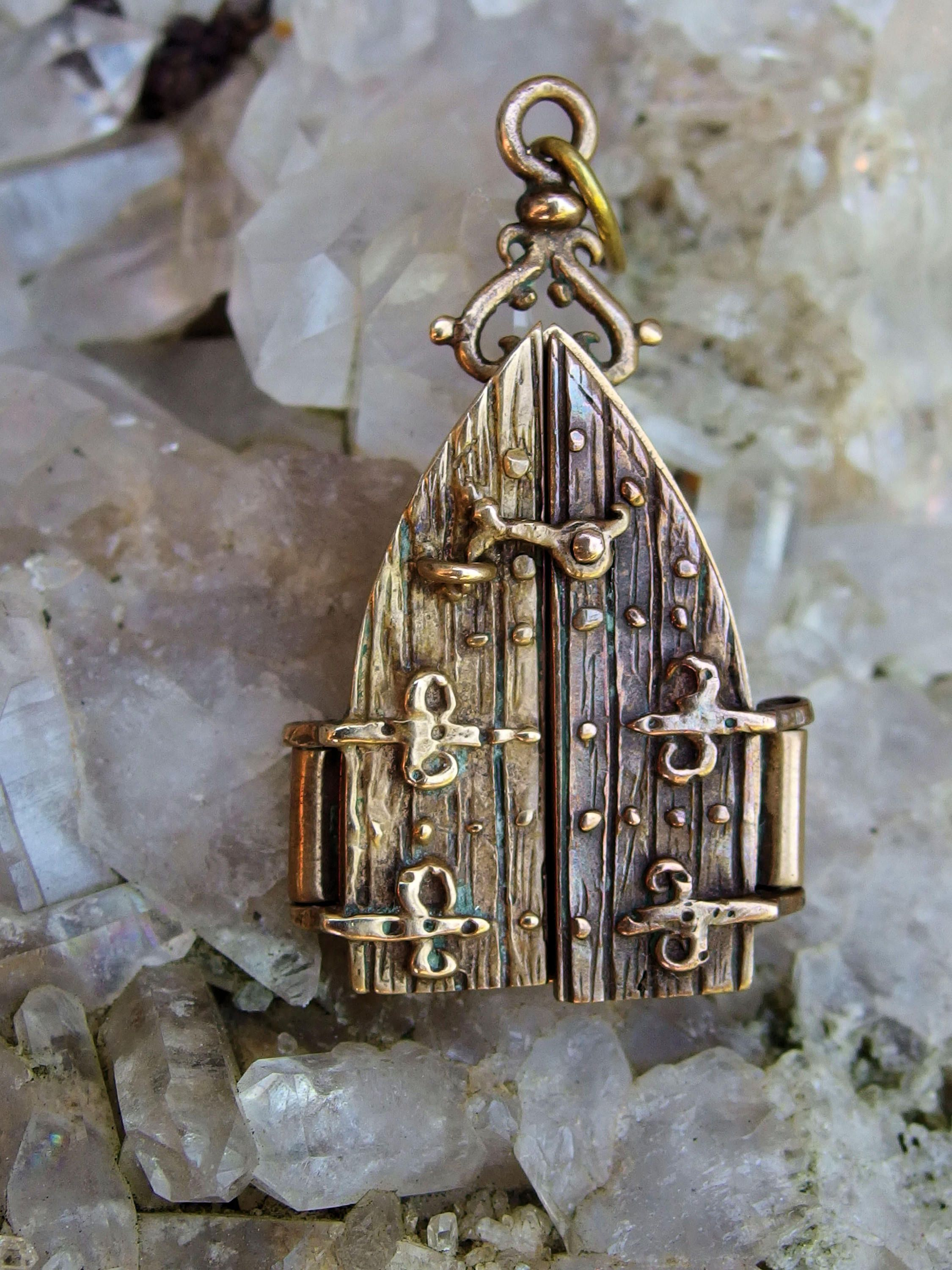 Gold Filled Gothic Door Fob Charm or Pendant, Hinged Doors