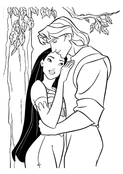 Pocahontas And John In Disney Coloring Page