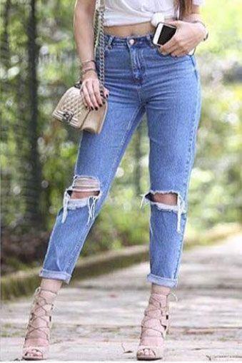 Yirtik Paca Boyfrend Bayan Kot Pantolon Moda Stilleri Giyim Kadin Giyim