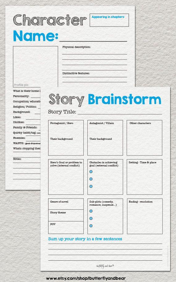 Ultimate Novel Planning Kit Printable Writing Par ButterflyandBear Writing  Tips, Novel Writing, Writing Worksheets