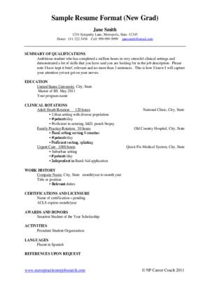 Sample Resume New Graduate Nurse Practitioner Background