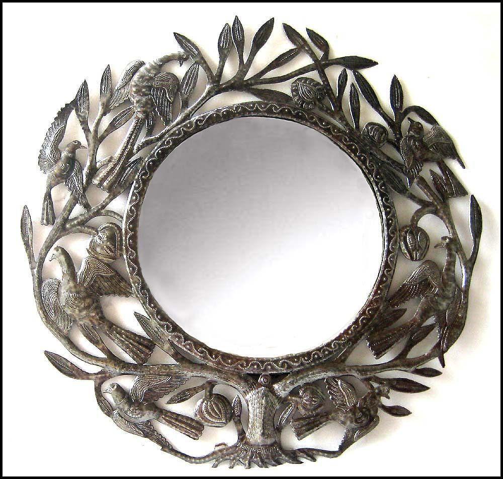 Metal Mirror, Wall Hanging, Birds, Decorative Metal Mirror Wall ...