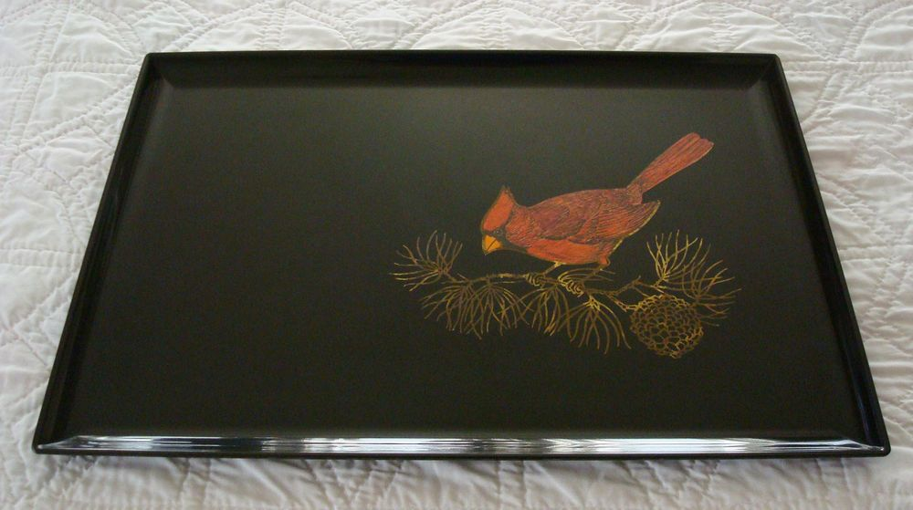 "Vintage Couroc Large Serving Tray Cardinal Bird Pine Branch 18"" x 12.5"""