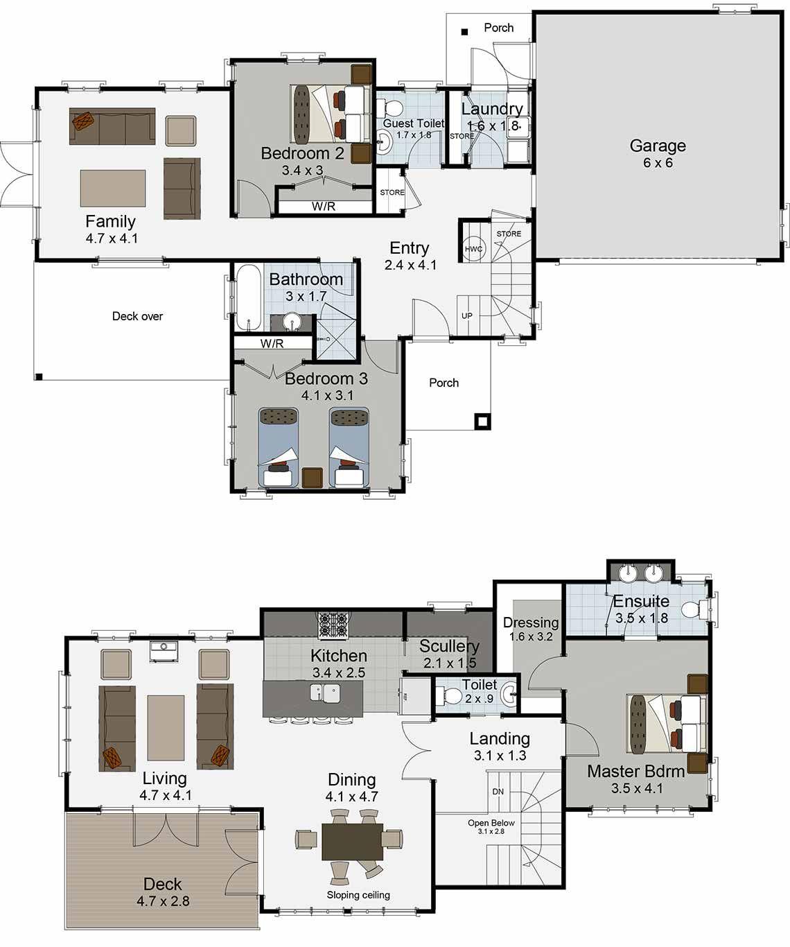 Karamea 3 bedroom house plan landmark homes builders nz