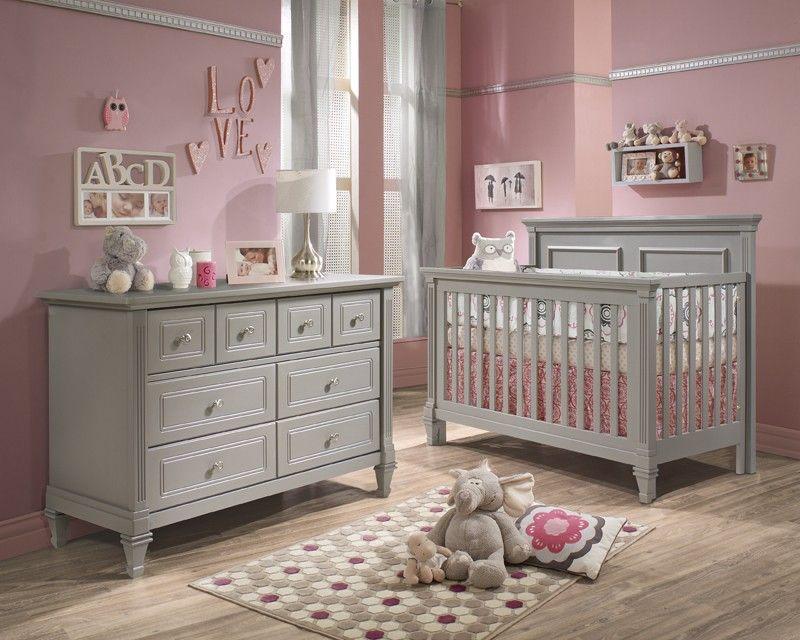 Natart Belmont 2 Piece Nursery Set In Stone Grey Crib And Double