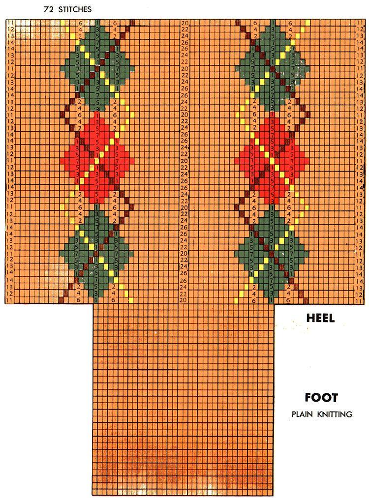 Argyle Clock Socks Pattern #7205 chart | Knitting patterns ...