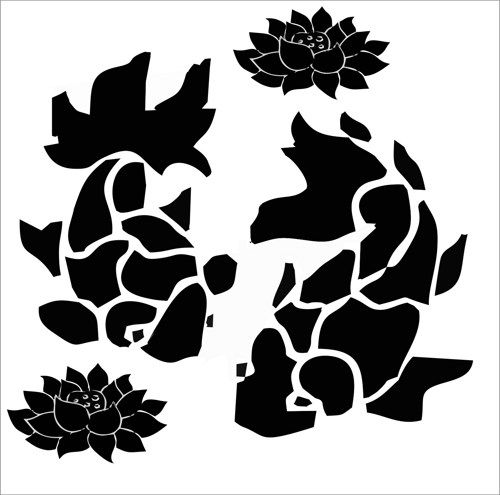 Koi Fish With Lotus Flower DecalKoi DecalAsian Wall Decal X - Vinyl wall decals asian
