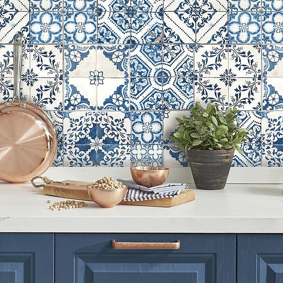 Roommates Mediterranean Tile Peel Stick Wallpaper In Blue Bed Bath Beyond Mediterranean Decor Mediterranean Tile Mediterranean Home Decor