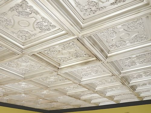 Charming Coffered Look Faux Tin Ceiling Tile TD03 Antique White 25 Tiles Lot (100  Sq.ft.)