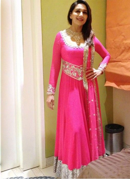 Madhuri Dixit Pink Heavy Embroidery Floor Length Anarkali Suit Anarkali Dress Anarkali Suits Bollywood Indian Outfits