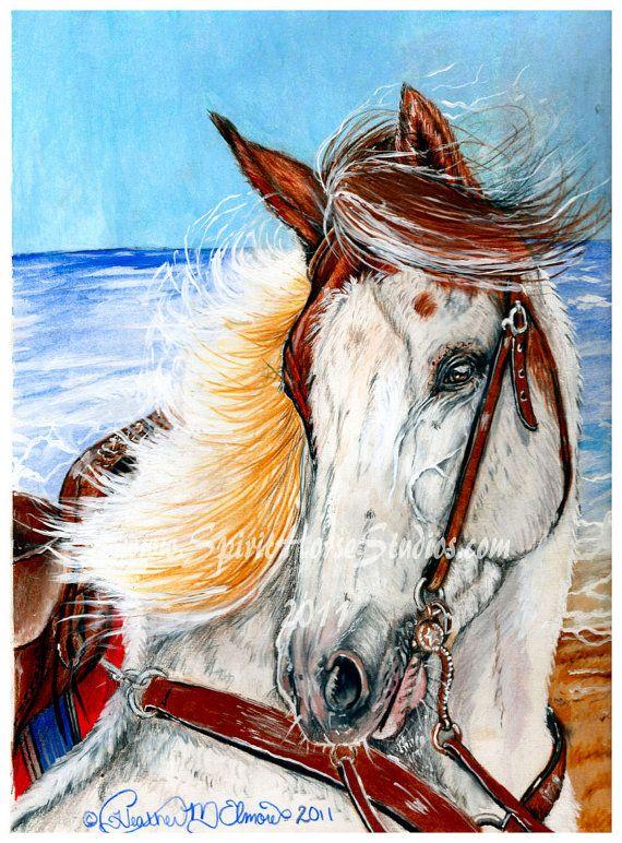 Paint Horse Ocean Beach Art Print 9 X 12 By Spirithorsestudio